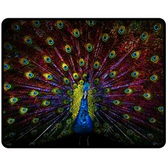 Beautiful Peacock Feather Double Sided Fleece Blanket (medium)  by BangZart