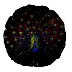 Beautiful Peacock Feather Large 18  Premium Flano Round Cushions