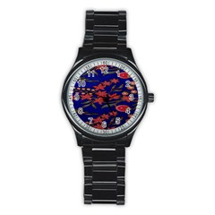 Batik  Fabric Stainless Steel Round Watch by BangZart