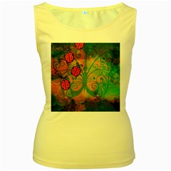 Background Colorful Bugs Women s Yellow Tank Top