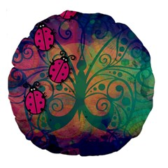 Background Colorful Bugs Large 18  Premium Round Cushions