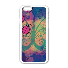 Background Colorful Bugs Apple Iphone 6/6s White Enamel Case by BangZart