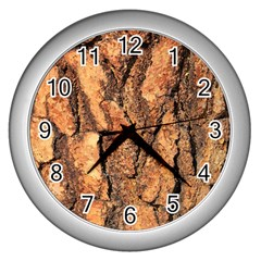 Bark Texture Wood Large Rough Red Wood Outside California Wall Clocks (silver)  by BangZart