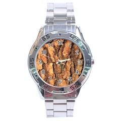 Bark Texture Wood Large Rough Red Wood Outside California Stainless Steel Analogue Watch