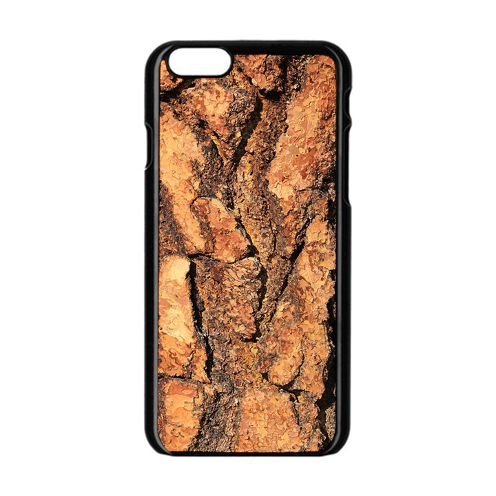 Bark Texture Wood Large Rough Red Wood Outside California Apple iPhone 6/6S Black Enamel Case