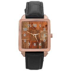 Barnwood Unfinished Rose Gold Leather Watch  by BangZart