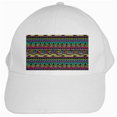 Aztec Pattern Cool Colors White Cap