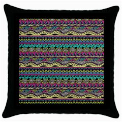 Aztec Pattern Cool Colors Throw Pillow Case (black) by BangZart