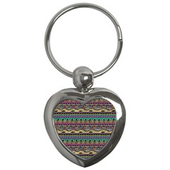 Aztec Pattern Cool Colors Key Chains (heart)  by BangZart