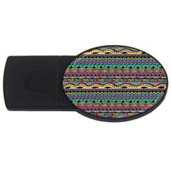 Aztec Pattern Cool Colors Usb Flash Drive Oval (2 Gb) by BangZart