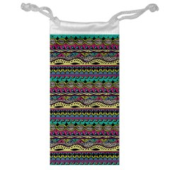 Aztec Pattern Cool Colors Jewelry Bag