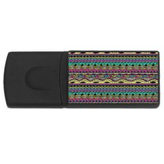 Aztec Pattern Cool Colors Rectangular Usb Flash Drive by BangZart