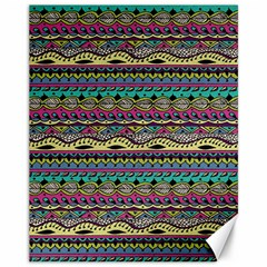 Aztec Pattern Cool Colors Canvas 11  X 14   by BangZart