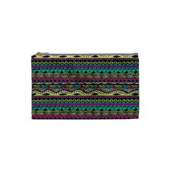 Aztec Pattern Cool Colors Cosmetic Bag (small)