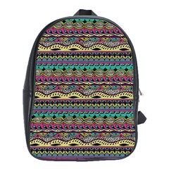 Aztec Pattern Cool Colors School Bags(large)  by BangZart