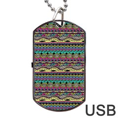 Aztec Pattern Cool Colors Dog Tag Usb Flash (two Sides) by BangZart