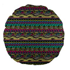 Aztec Pattern Cool Colors Large 18  Premium Round Cushions