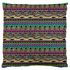 Aztec Pattern Cool Colors Large Flano Cushion Case (one Side)