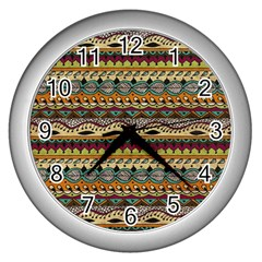 Aztec Pattern Ethnic Wall Clocks (silver)  by BangZart