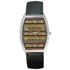 Aztec Pattern Ethnic Barrel Style Metal Watch