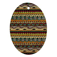 Aztec Pattern Ethnic Oval Ornament (two Sides) by BangZart