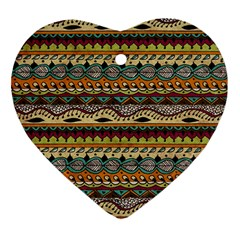 Aztec Pattern Ethnic Heart Ornament (two Sides)