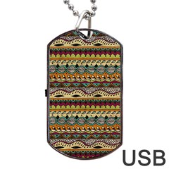 Aztec Pattern Ethnic Dog Tag Usb Flash (one Side)