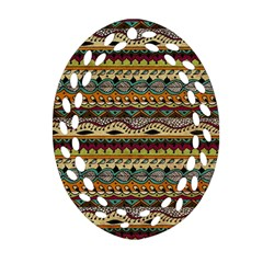 Aztec Pattern Ethnic Oval Filigree Ornament (two Sides) by BangZart