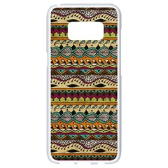 Aztec Pattern Ethnic Samsung Galaxy S8 White Seamless Case