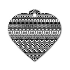 Aztec Pattern Design Dog Tag Heart (two Sides) by BangZart