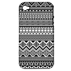 Aztec Pattern Design Apple Iphone 4/4s Hardshell Case (pc+silicone) by BangZart