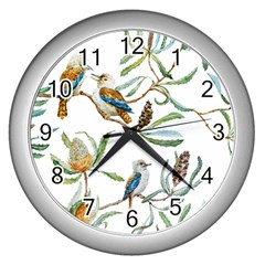Australian Kookaburra Bird Pattern Wall Clocks (silver)  by BangZart