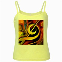 Art Oil Picture Music Nota Yellow Spaghetti Tank