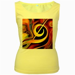 Art Oil Picture Music Nota Women s Yellow Tank Top