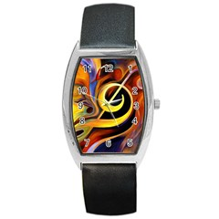Art Oil Picture Music Nota Barrel Style Metal Watch