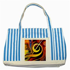Art Oil Picture Music Nota Striped Blue Tote Bag by BangZart