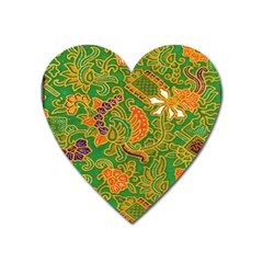 Art Batik The Traditional Fabric Heart Magnet by BangZart