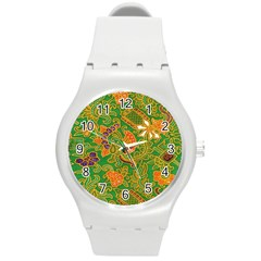 Art Batik The Traditional Fabric Round Plastic Sport Watch (m)