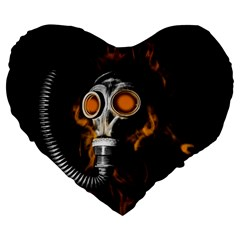 Gas Mask Large 19  Premium Flano Heart Shape Cushions