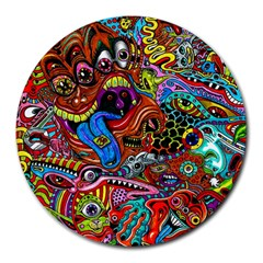 Art Color Dark Detail Monsters Psychedelic Round Mousepads by BangZart