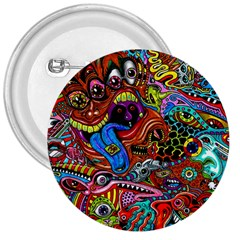 Art Color Dark Detail Monsters Psychedelic 3  Buttons by BangZart