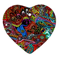 Art Color Dark Detail Monsters Psychedelic Ornament (heart)