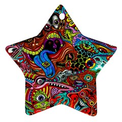 Art Color Dark Detail Monsters Psychedelic Ornament (star)