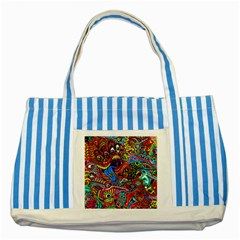 Art Color Dark Detail Monsters Psychedelic Striped Blue Tote Bag by BangZart