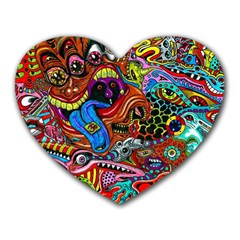 Art Color Dark Detail Monsters Psychedelic Heart Mousepads by BangZart