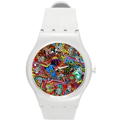 Art Color Dark Detail Monsters Psychedelic Round Plastic Sport Watch (m) by BangZart