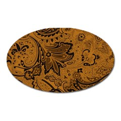 Art Traditional Batik Flower Pattern Oval Magnet