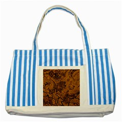 Art Traditional Batik Flower Pattern Striped Blue Tote Bag by BangZart
