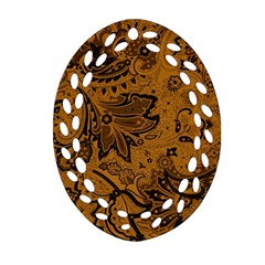 Art Traditional Batik Flower Pattern Oval Filigree Ornament (two Sides) by BangZart
