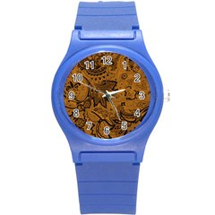 Art Traditional Batik Flower Pattern Round Plastic Sport Watch (s) by BangZart